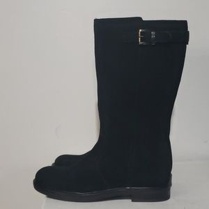 Lands End Black Suede Leather Tall Boots Size 2